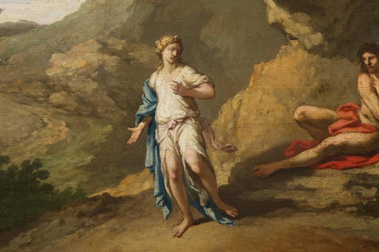 Rococo Andrea Locatelli, Italian/Roman Landscape with Figures Painting, 18th Century For Sale