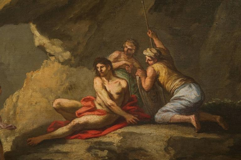 Andrea Locatelli, Italian/Roman Landscape with Figures Painting, 18th Century In Excellent Condition For Sale In Stamford, CT