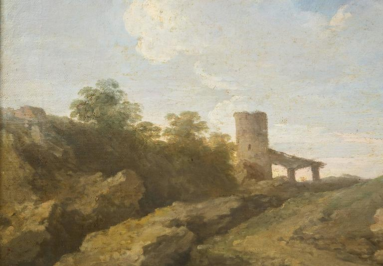 Canvas Andrea Locatelli, Italian/Roman Landscape with Figures Painting, 18th Century For Sale