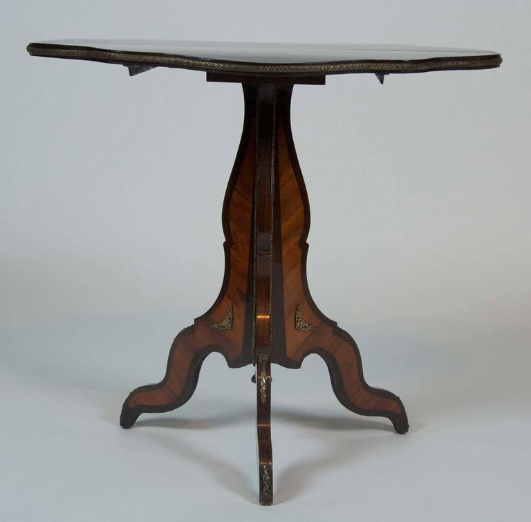 Wood French Napoleon III Period Inlaid Tilt Top Table For Sale