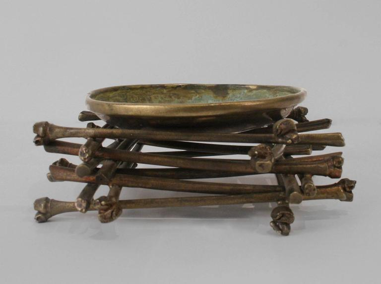 """American """"Ritual Bowl on Bamboo Pyre"""" Brass Sculpture by Robert Lee Morris, 1990 For Sale"""