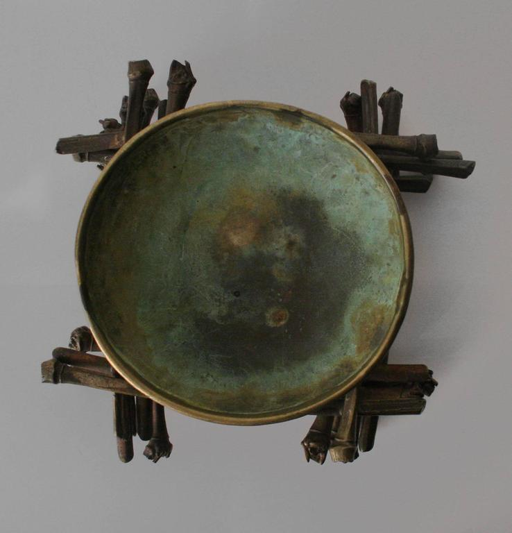 """""""Ritual Bowl on Bamboo Pyre"""" Brass Sculpture by Robert Lee Morris, 1990 In Excellent Condition For Sale In New York, NY"""
