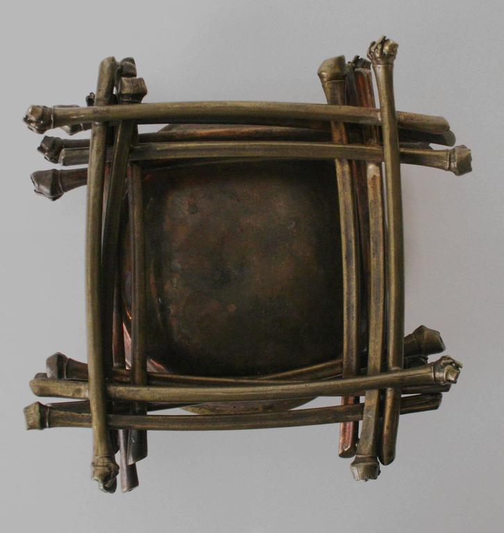 """Patinated """"Ritual Bowl on Bamboo Pyre"""" Brass Sculpture by Robert Lee Morris, 1990 For Sale"""