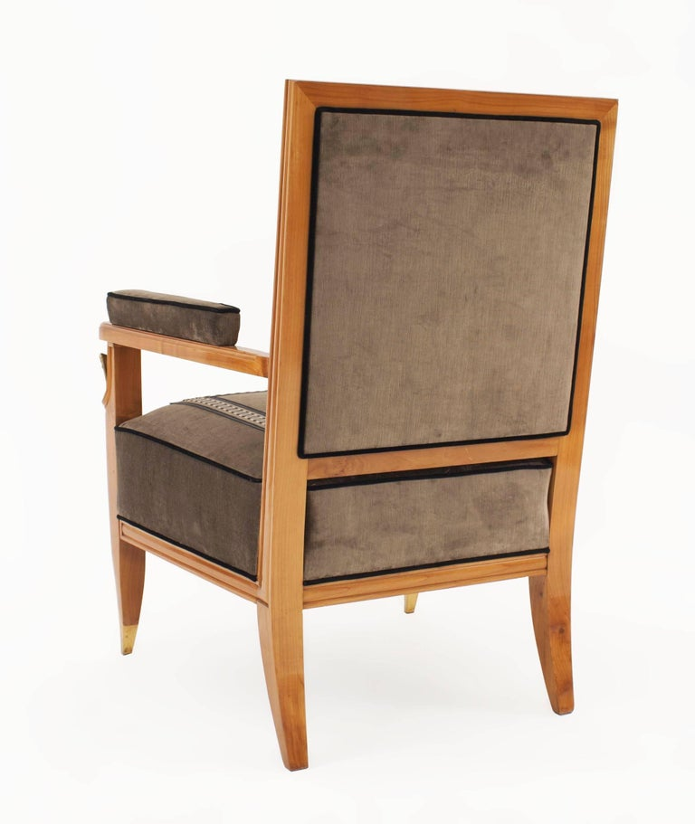 French Midcentury Light Mahogany Armchair 39 Jean Pascaud 39 For Sale At 1stdibs