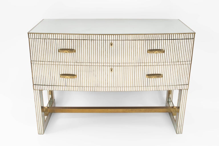 Mid-20th Century Pair of French Midcentury 1950s Bow Front Mirrored Chests
