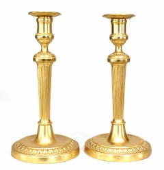 Pair of French Louis XVI 19th Century Style Gilt Bronze Fluted Candlesticks