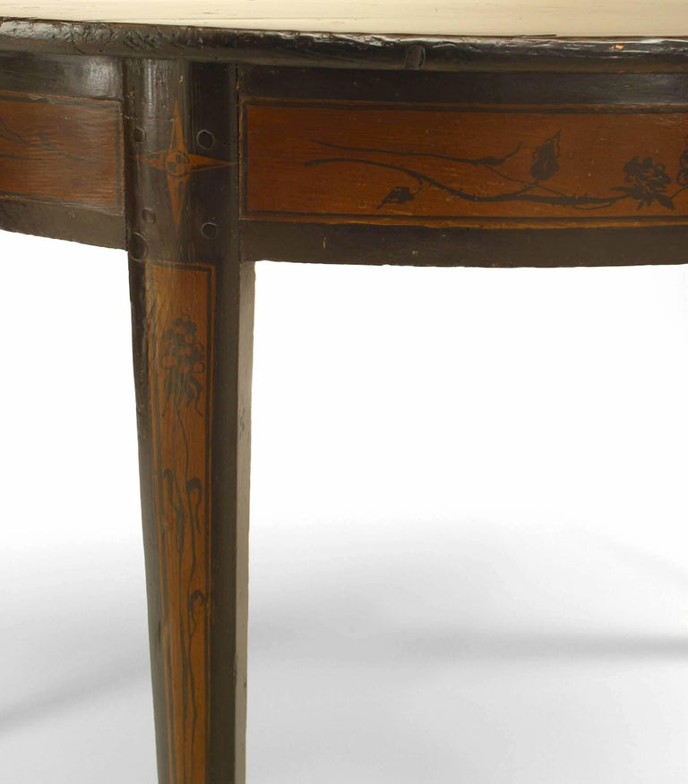 Pair of Italian Neoclassic '19th Century' Demilune Top Console Tables In Good Condition For Sale In New York, NY