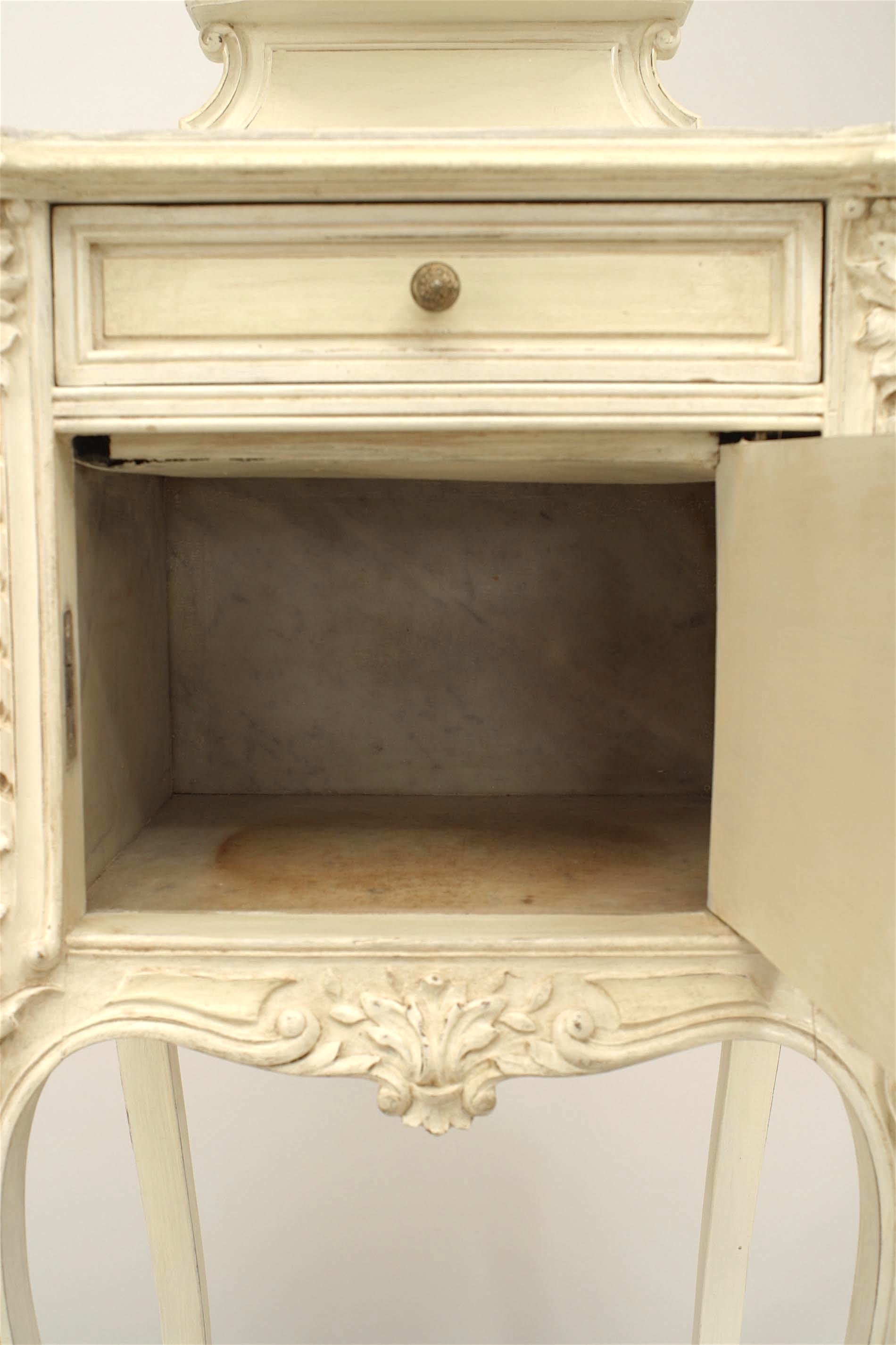 French Victorian White Painted and Carved Bedside Commode For Sale ...