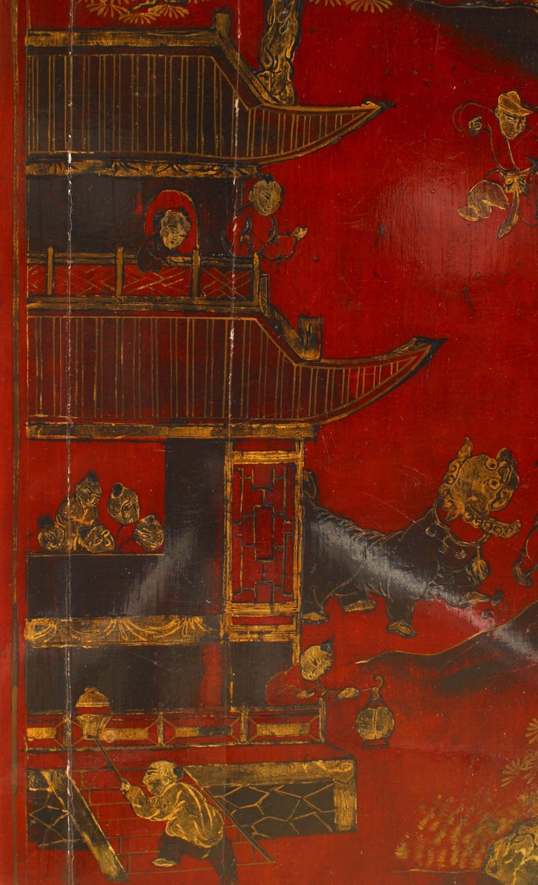 Asian Chinese Style Red Lacquered Coffee Table In Good Condition For Sale In New York, NY