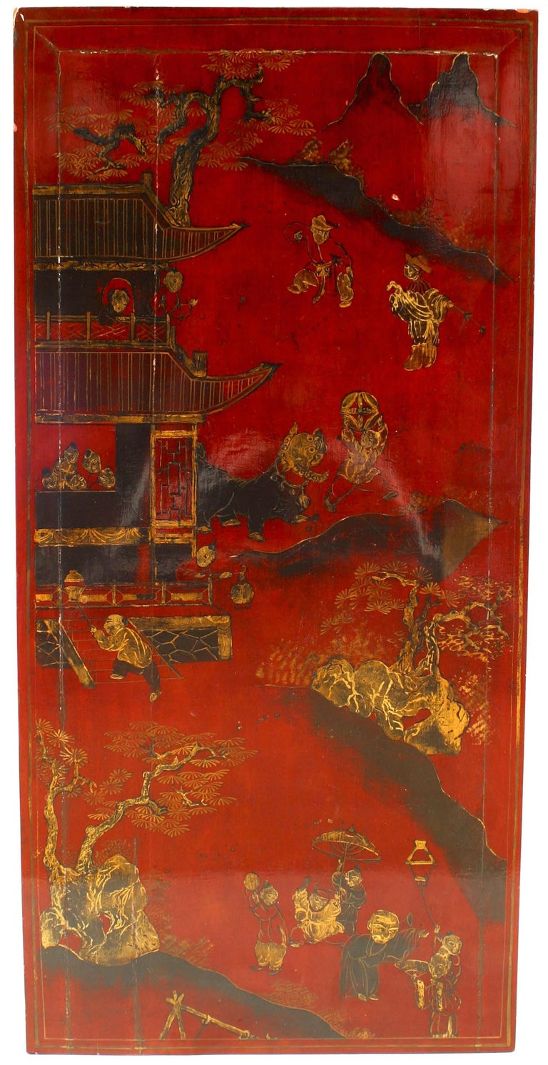 Asian Chinese style red lacquered rectangular coffee table with a top of scene with figures and floral motifs supported on cabriole form legs.