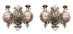 Pair of American Victorian Brass Filigree Design Oil Lamp Wall Sconces