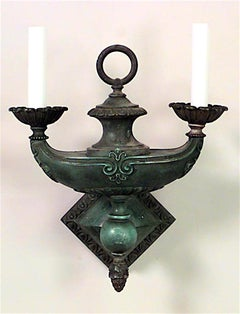 American Victorian Bronze with Green Patina Wall Sconce