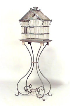 American Victorian Style Blue Painted Metal Birdcage