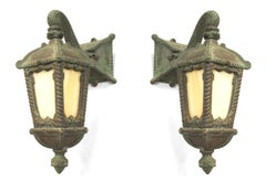 Pair of American Victorian Patinated Iron Outdoor Wall Sconces