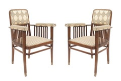 Pair of Austrian Bentwood 'Secessionist' Beech Wood Arm Chairs