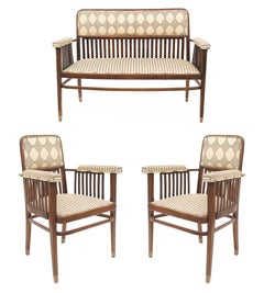 Set of 3 Austrian Bentwood 'Secessionist' Beech Wood Chair Set