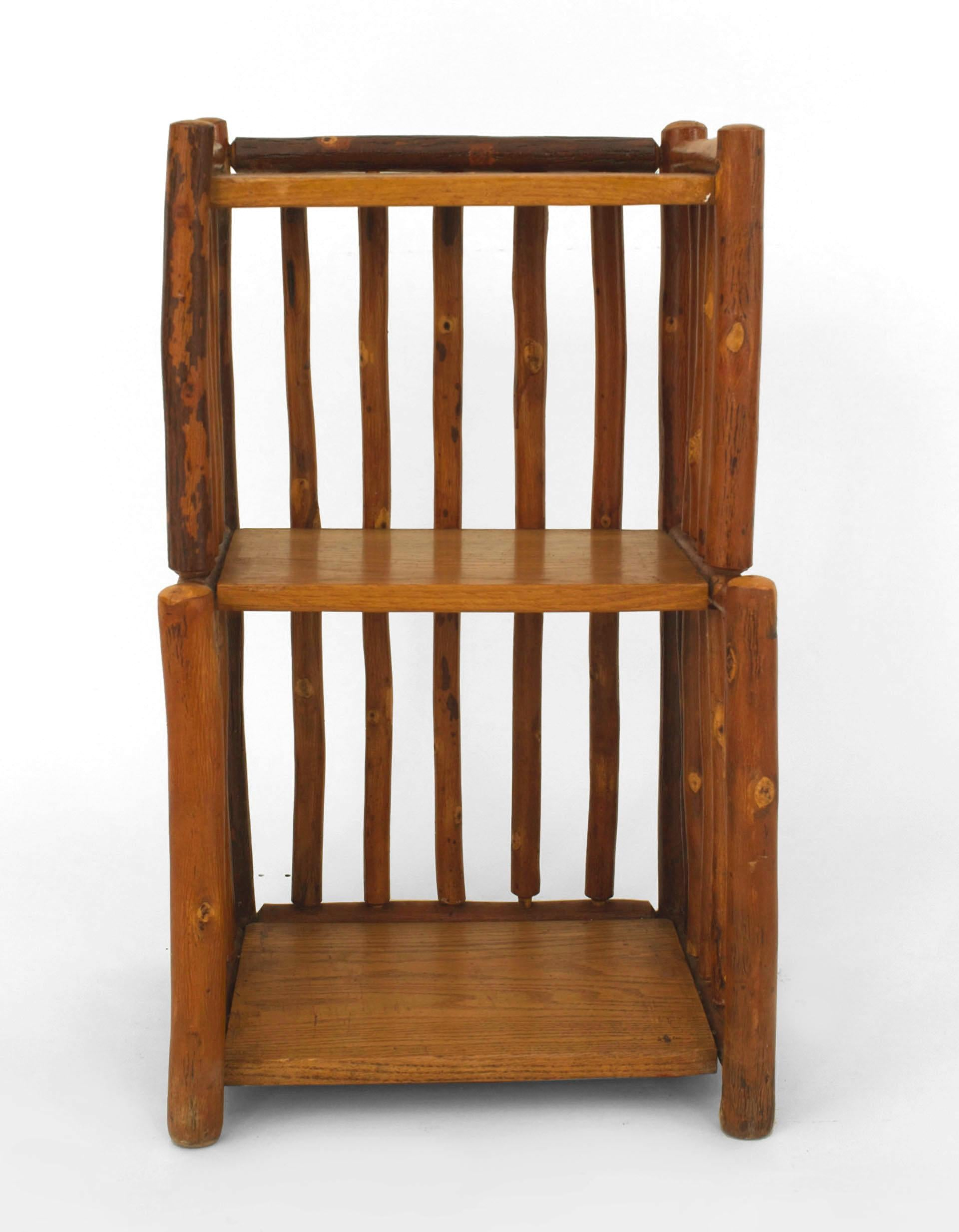 Pair Of American Rustic Old Hickory Two Tier Bedside End Tables With Hickory  Wood Spindles