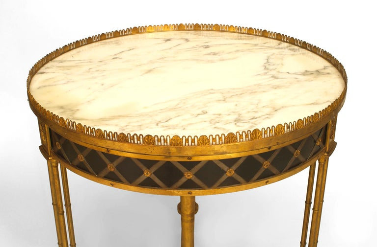 20th c. French Charles X Style Bronze Dore and Marble Gueridon Table In Good Condition For Sale In New York, NY
