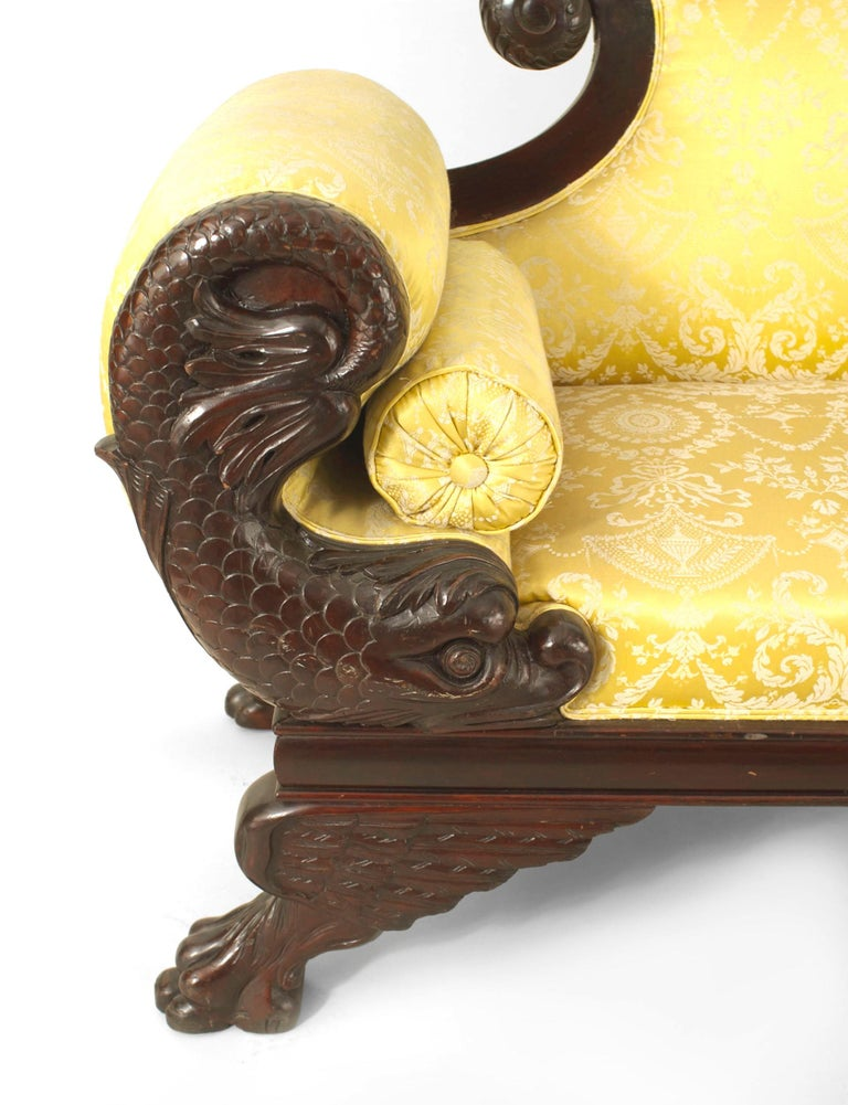American Victorian Carved Dolphin-Side Roll Arm Loveseat In Good Condition For Sale In New York, NY