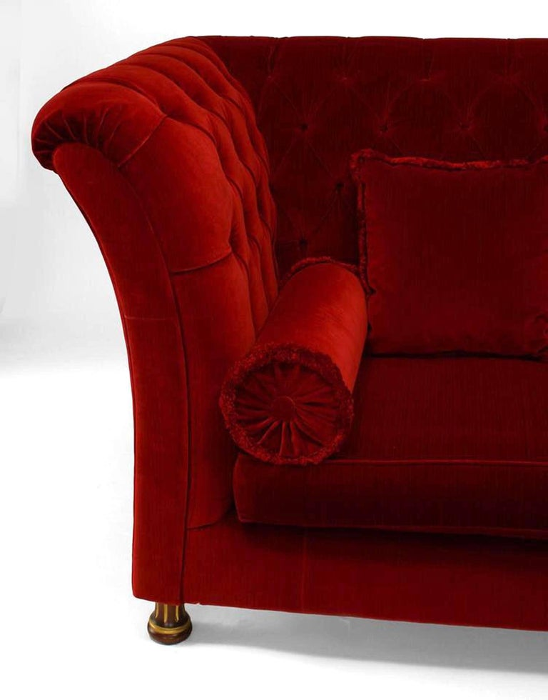 20th Century French Victorian Style 'Modern' Red Tufted Velvet Settee For Sale