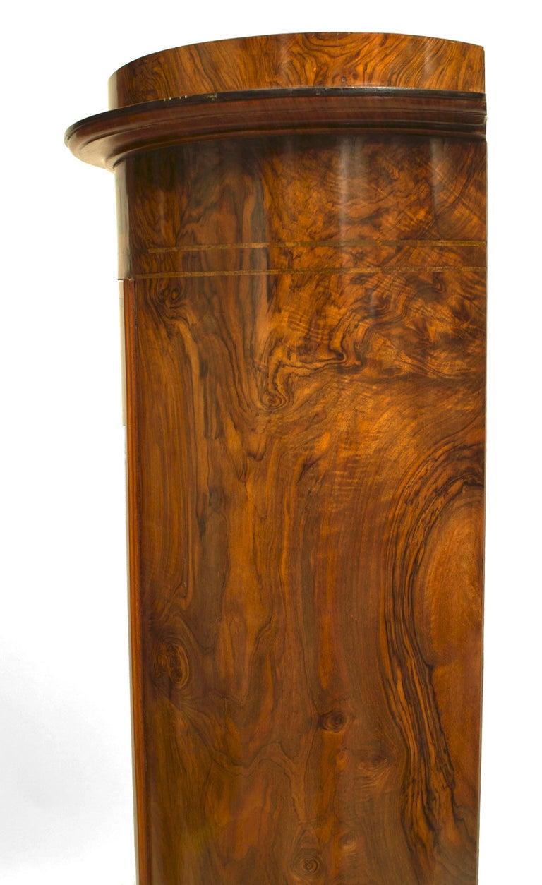 19th c. Biedermeier Burl Walnut Pedestal Cabinet For Sale 2