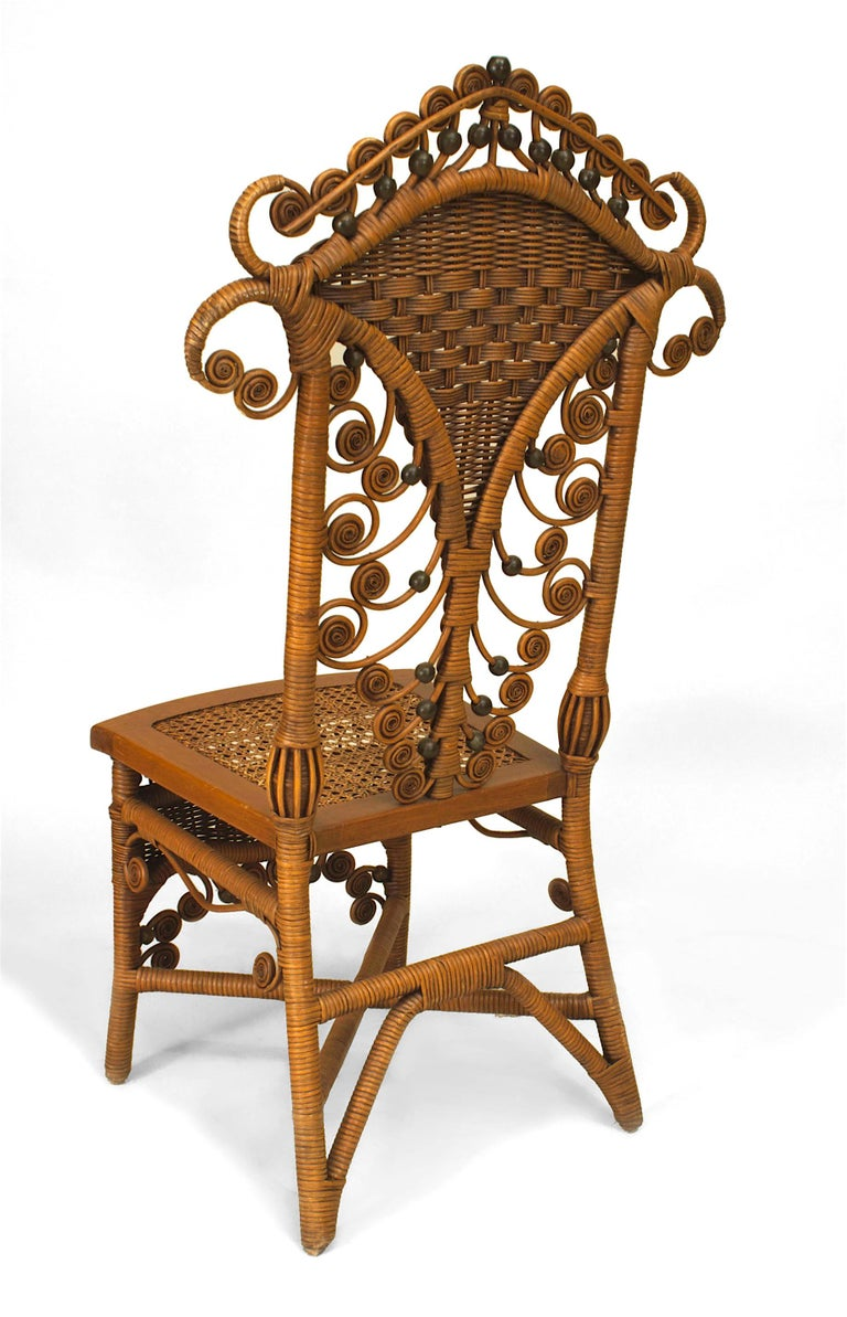 Set of Four 19th Century American Natural Wicker Side Chairs In Good Condition For Sale In New York, NY