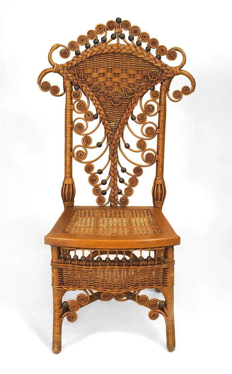 Victorian Set of Four 19th Century American Natural Wicker Side Chairs For Sale
