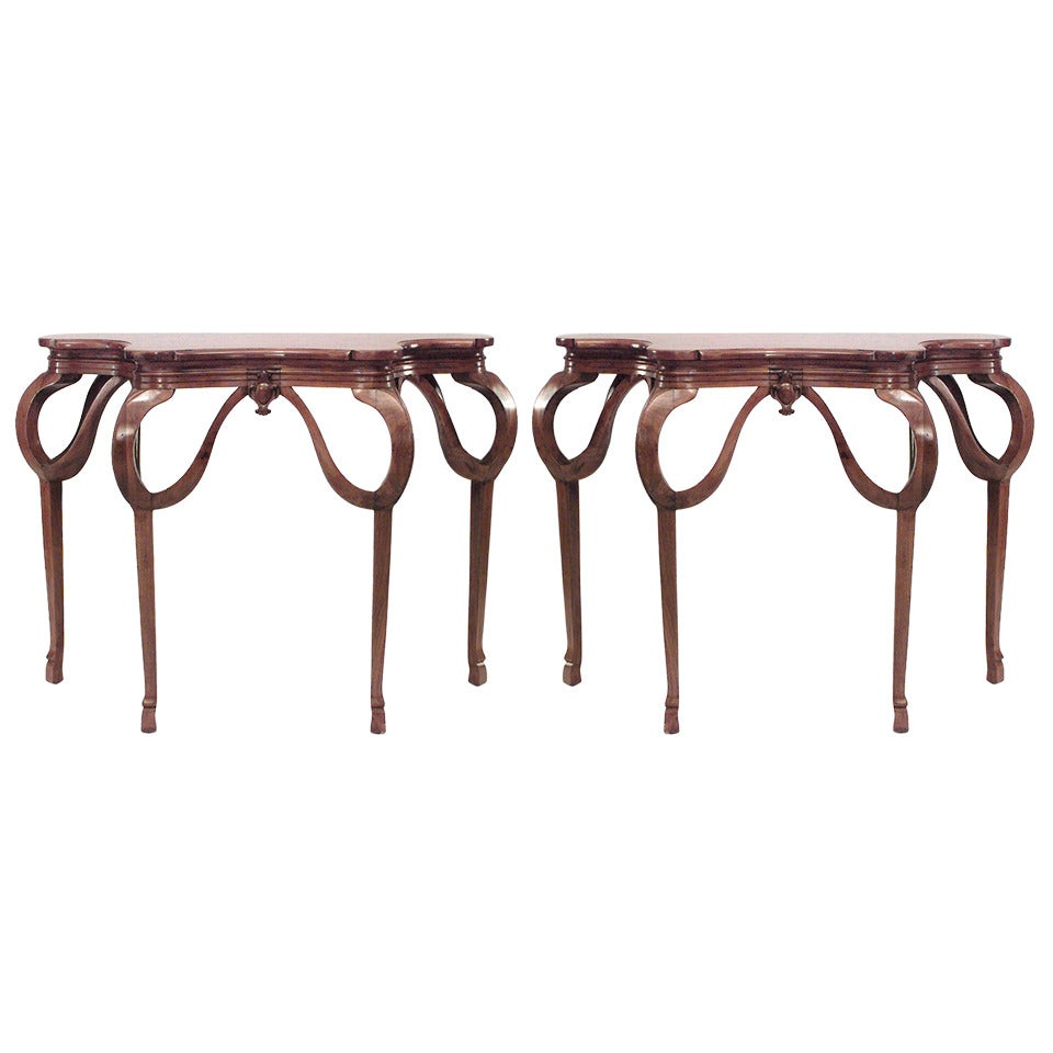 Pair of French Art Nouveau Walnut Console Tables