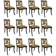 Set of 12 English Regency Style Ebonized Side Chairs