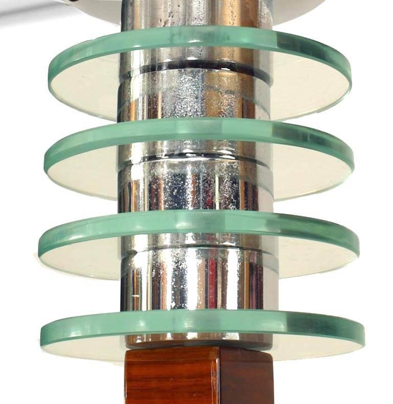 French Art Deco Walnut Floor Lamp In Good Condition For Sale In New York, NY