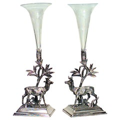 Pair of 19th Century English Elevated Crystal and Silver Plated Vases