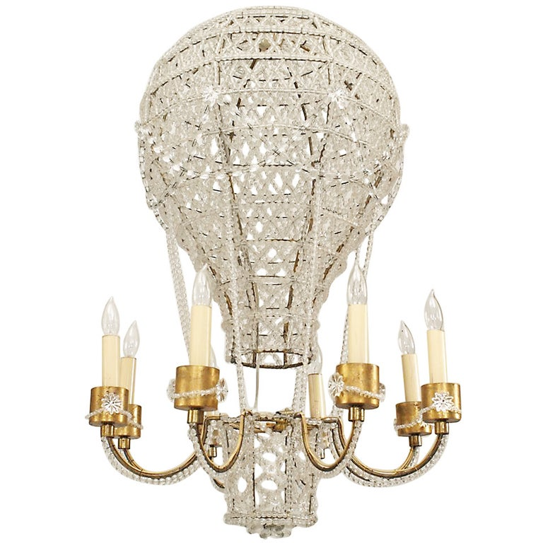 French 1930s Crystal Hot Air Balloon Chandelier, Attributed to Baguès
