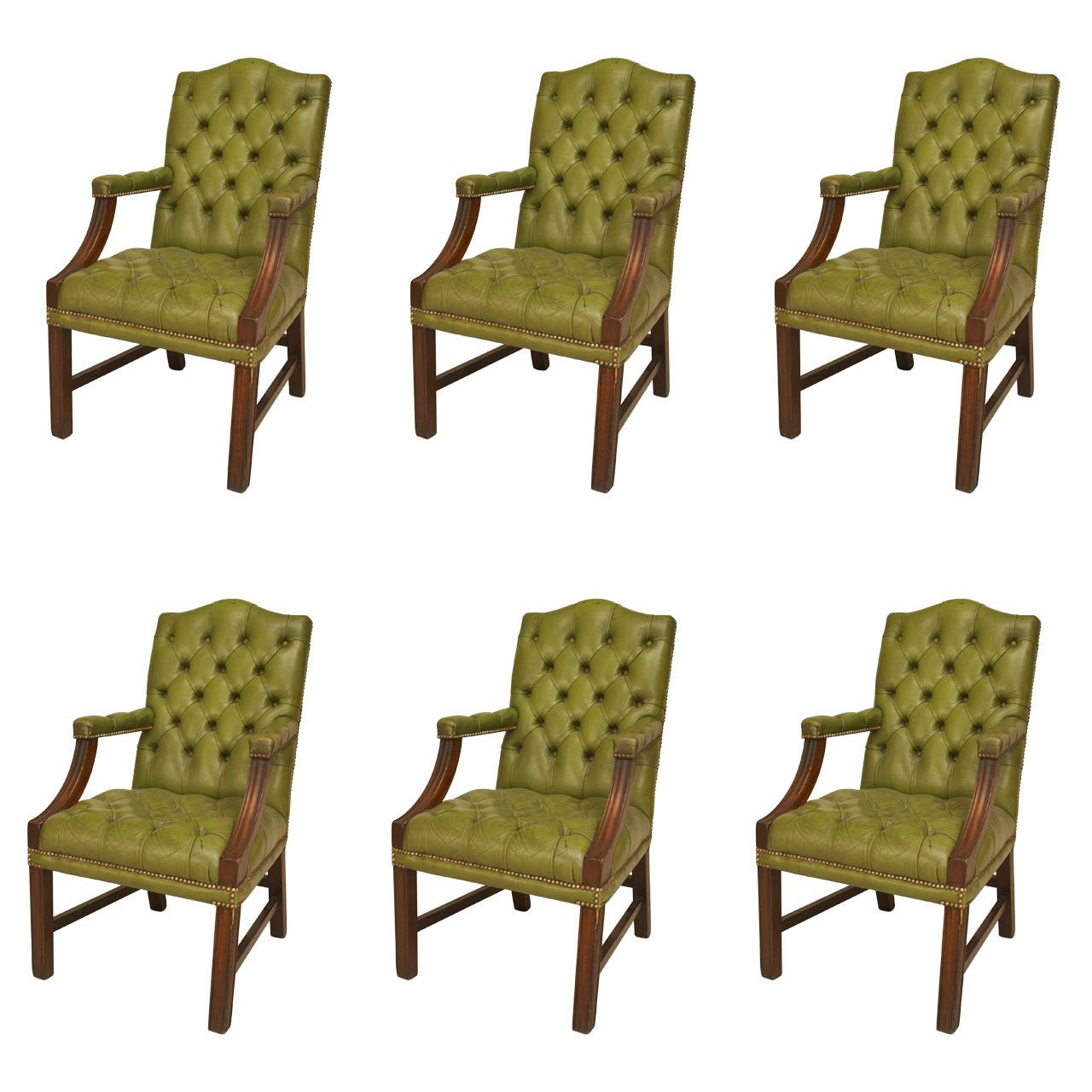 Set of Six English Georgian Tufted Leather Armchairs