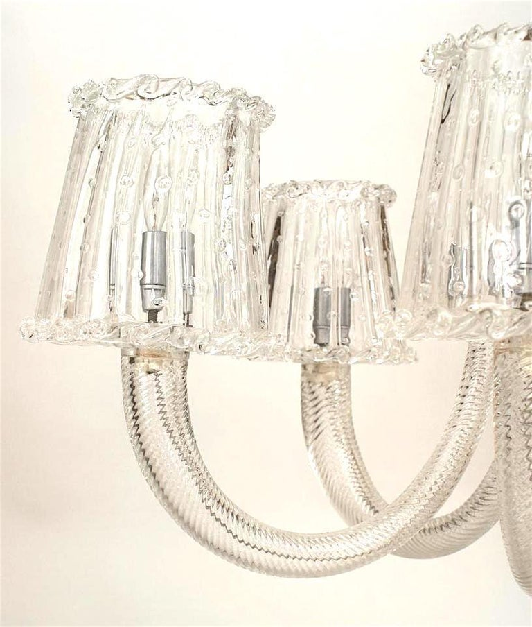 Mid-Century Modern 1940's Italian Murano Glass & Chrome Chandelier, Attrib. to Barovier e Toso For Sale