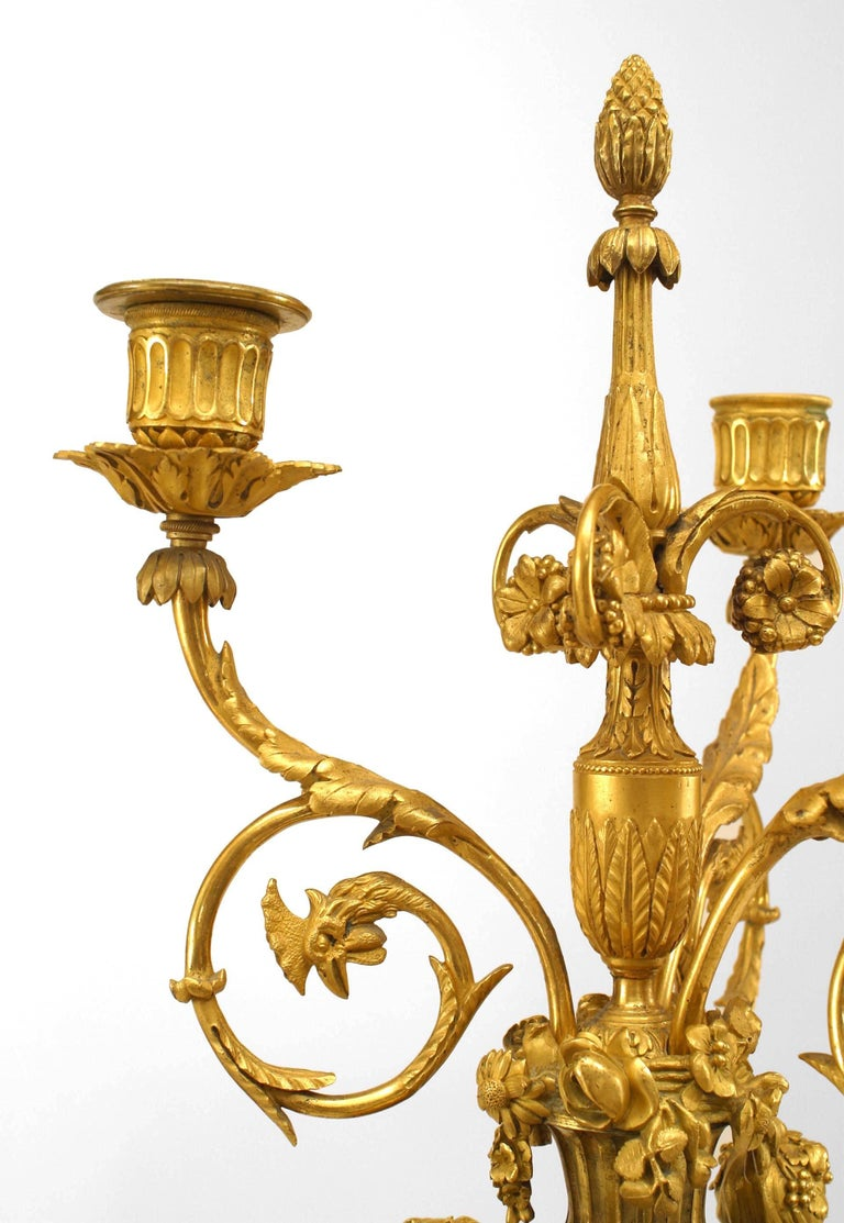 Pair of 1879 French Ormolu-Trimmed Marble Candelabrum by Henry Dasson For Sale 1