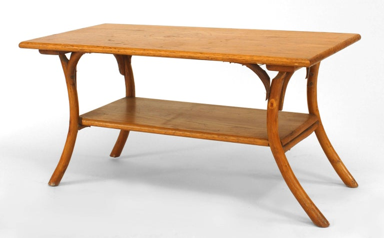 1940's or 1950's American Rustic Old Hickory rectangular coffee table with an oak top and shelf with flared form legs (marked: 309).
