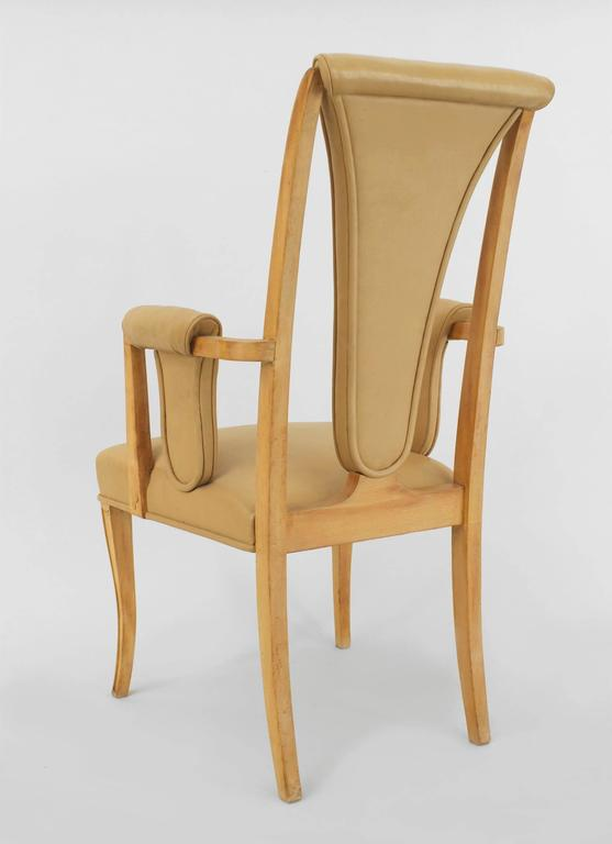 Set of Eight English Art Deco Maple High Back Dining Chairs by S. Hille & Co. For Sale 2