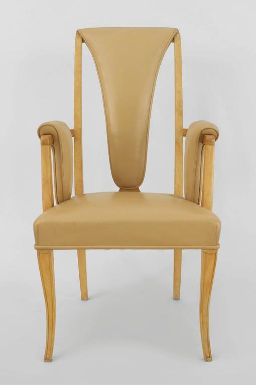 Set of Eight English Art Deco Maple High Back Dining Chairs by S. Hille & Co. For Sale 1