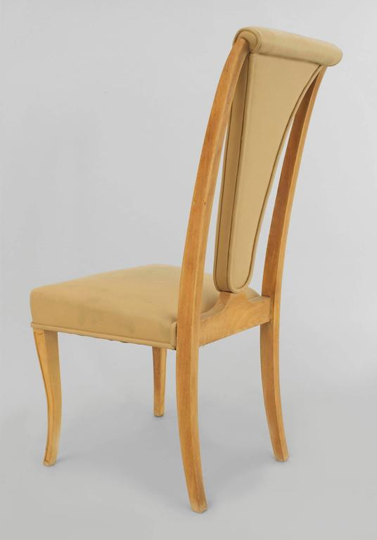 Set of Eight English Art Deco Maple High Back Dining Chairs by S. Hille & Co. In Excellent Condition For Sale In New York, NY