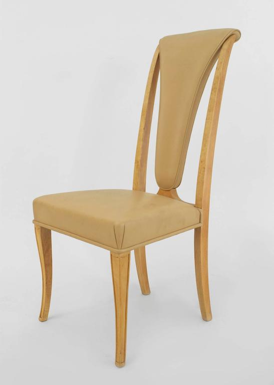 Set of Eight English Art Deco Maple High Back Dining Chairs by S. Hille & Co. For Sale 3