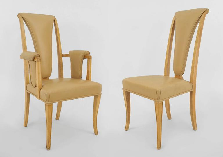 Set Of Eightde 1940u0027s English Art Deco Maple High Back Dining Chairs With  Beige Vinyl Upholstery