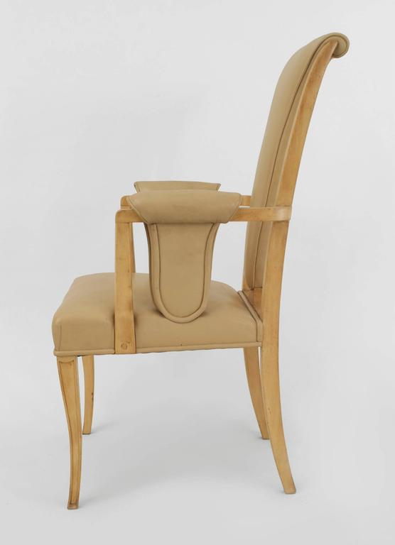 Set of Eight English Art Deco Maple High Back Dining Chairs by S. Hille & Co. For Sale 4