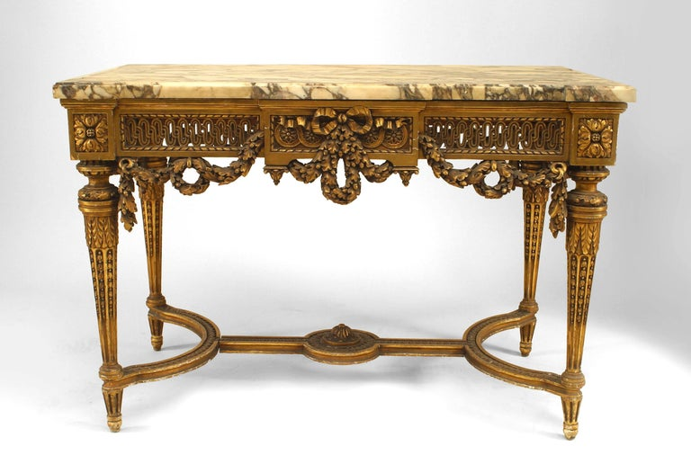 19th Century French Louis XVI Style Gilt Center Table In Good Condition For Sale In New York, NY