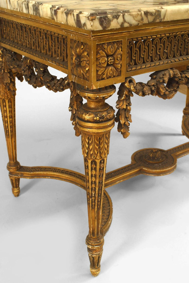 19th Century French Louis XVI Style Gilt Center Table For Sale 2