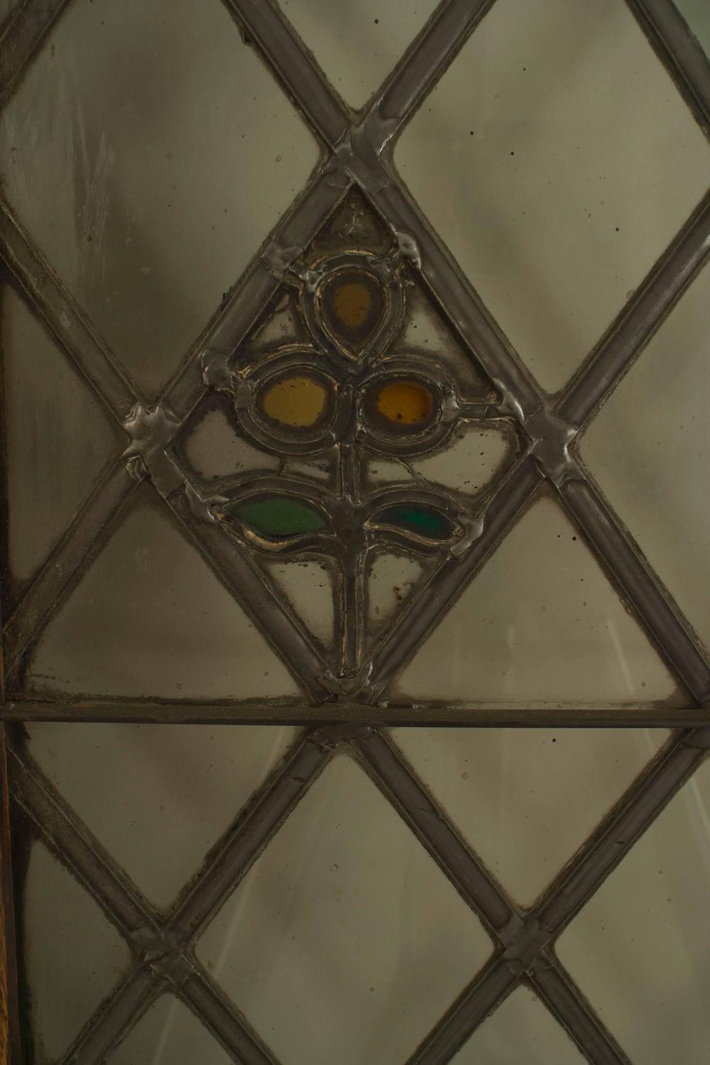 Large pair of 19th c american leaded glass golden oak for 123 william street 19th floor new york ny 10038