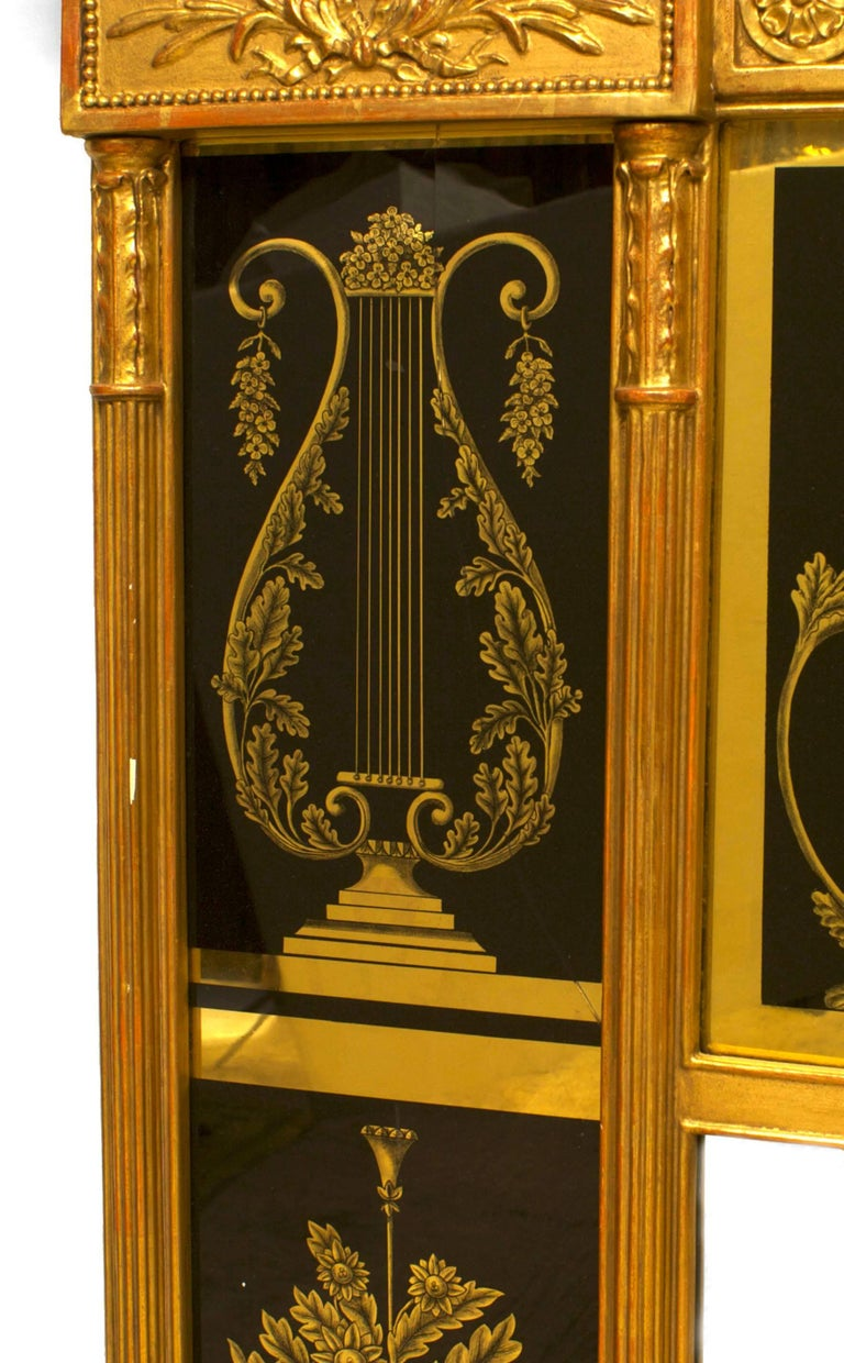 19th Century Italian Neo-classical Wall Mirror Framed in Reverse Painted Glass For Sale 2