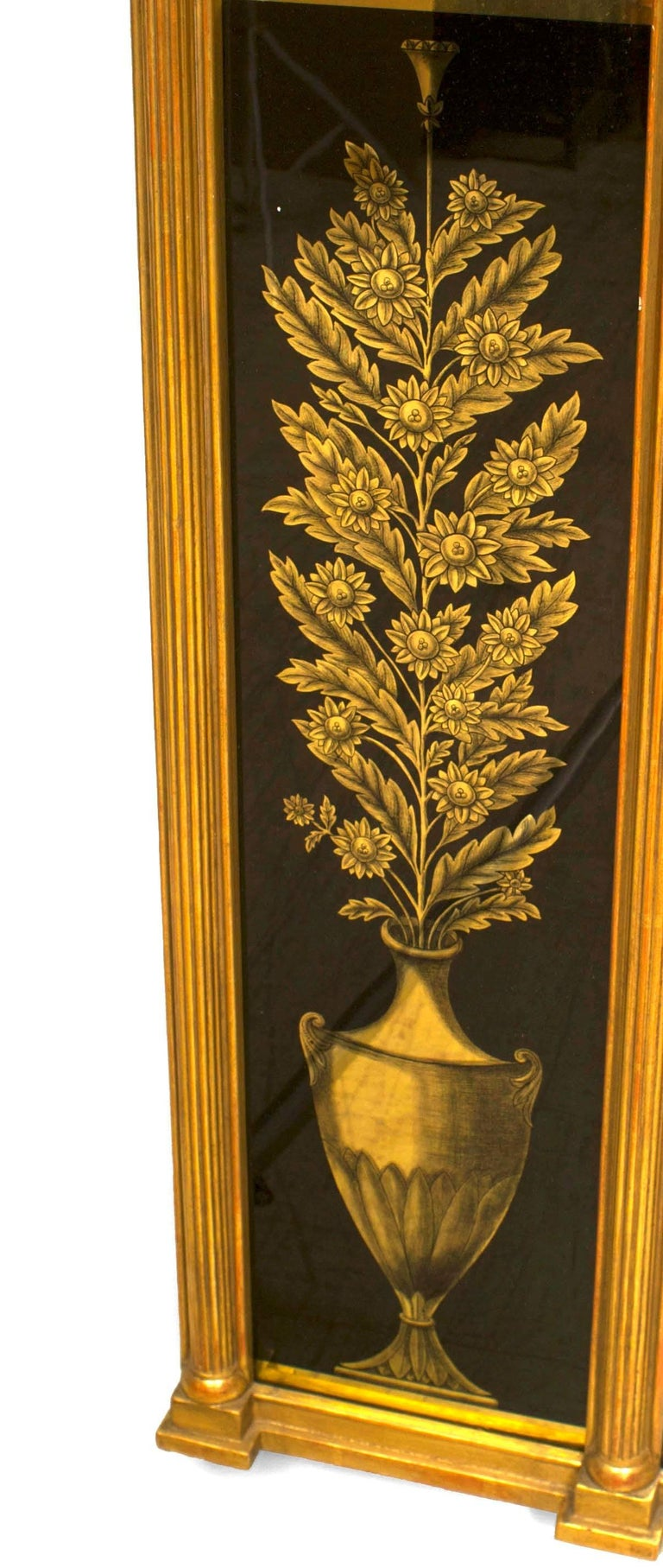 19th Century Italian Neo-classical Wall Mirror Framed in Reverse Painted Glass For Sale 3