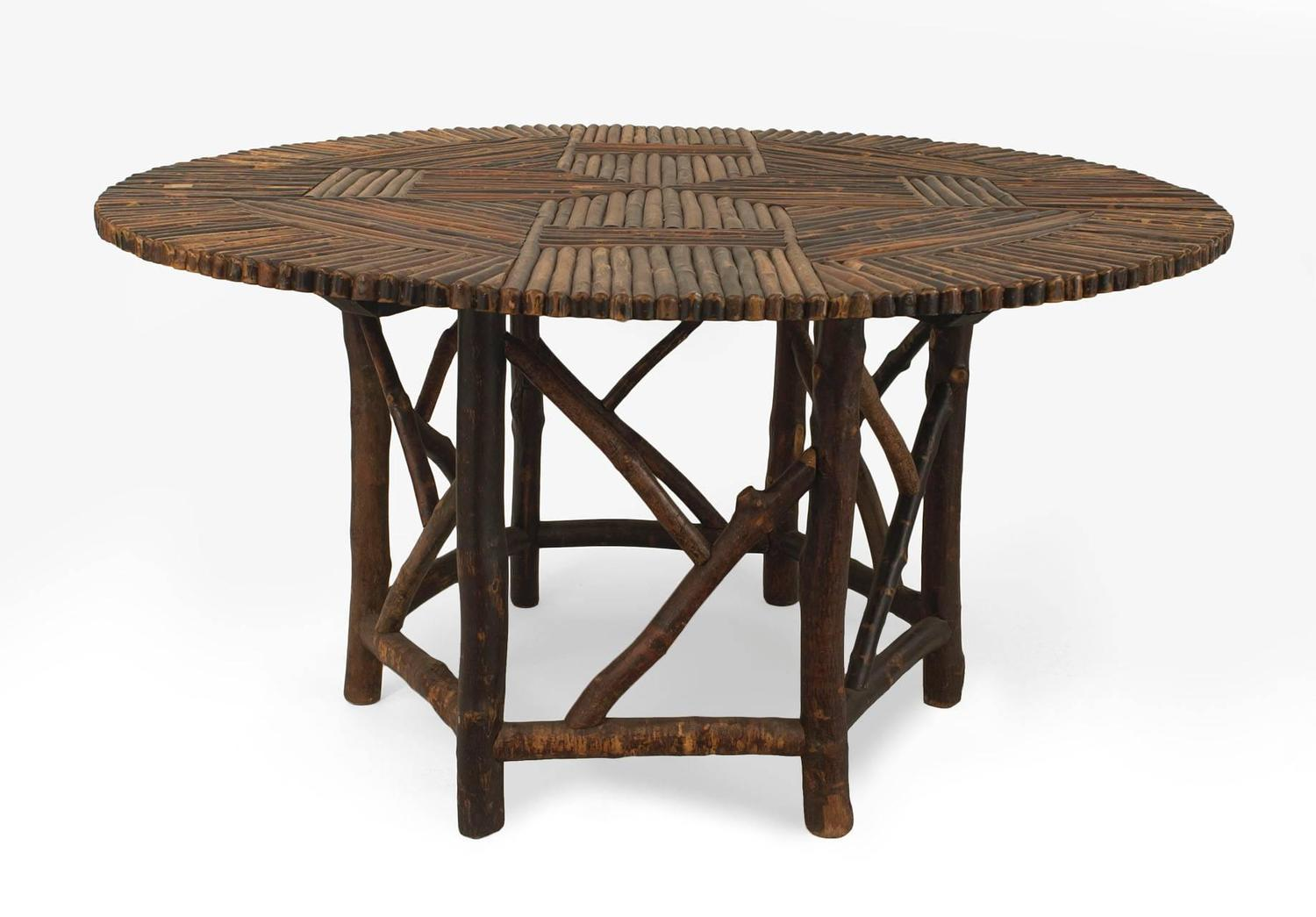 American adirondack style round twig dining table at 1stdibs for Stylish round dining table