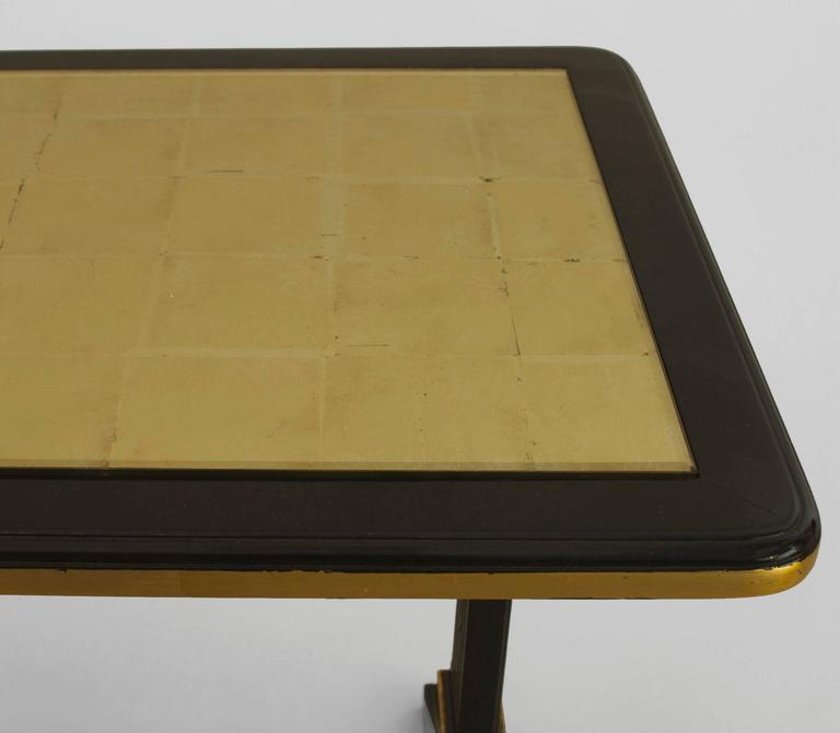 Art Deco 1940s French Gilt Glass and Ebonized Wood Coffee Table by Jansen For Sale