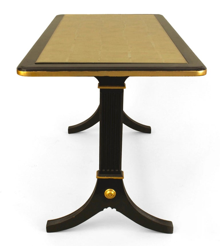 Art Deco 1940s French Gilt Glass and Ebonized Wood Coffee Table, by Jansen For Sale